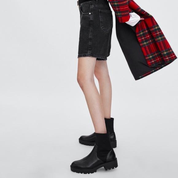 Nwt Zara Flat Elastic Ankle Boots